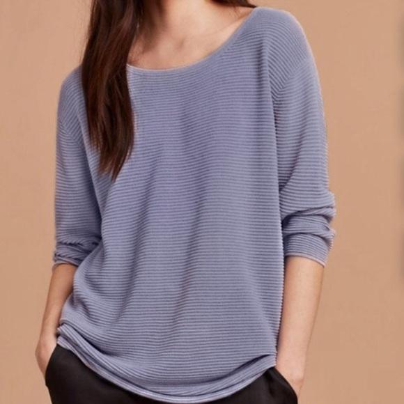Aritzia Wilfred Blanchard Linen Blend Sweater Blue